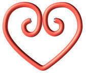 One red paperclip heart — Stok fotoğraf