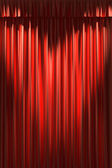 Red silk curtain under two spot lights — Stock Photo