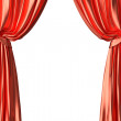 图库照片: Red theater curtain on white background
