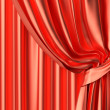Stock Photo: Red silk theater curtain fragment