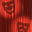 Red theater curtain with shadow of masks — Stock Photo
