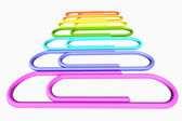 Colored paperclips row close-up perspective view — Zdjęcie stockowe