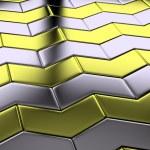 金色的箭钢块地板对角视图 — 图库照片 #42573701
