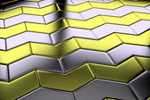 Steel with gold arrow blocks flooring diagonal view — Stock Photo