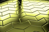 Golden arrow blocks flooring diagonal view — Stock Photo