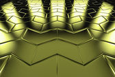 Golden arrow blocks flooring perspective view — Stock Photo