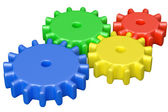 Colorful plastic toys cogwheels construction — Stock Photo