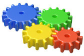 Colorful plastic toy cogwheel construction — Stock Photo