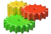 Colorful plastic toys cogwheels construction. — Stock Photo