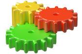 Colorful plastic toys cogwheels construction. — Stock Photo