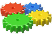Bright plastic toys cogwheels construction — Stock Photo