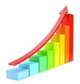 Colorful growing bar chart with red arrow — Stock Photo