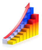 Bright growing colorful bar chart with arrow in two rows — Stock Photo