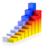 Bright colorful growing bar chart in two rows business success c — Stok fotoğraf