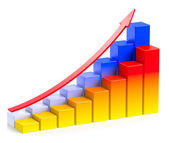 Bright colorful growing bar chart with arrow in two rows — Stock Photo