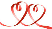 Red ribbon in the shape of two hearts — Stock Photo