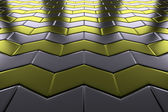 Metal with gold arrows blocks flooring perspective view — Stock Photo