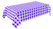 Rectangular tablecloth with blue checkered pattern — Stock Photo