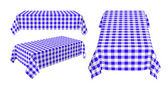 Set of rectangular tablecloth with blue checkered pattern — Stock Photo
