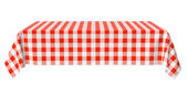 Rectangular horizontal tablecloth with red checkered pattern — Stock Photo