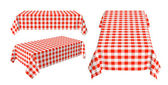 Set of rectangular tablecloth with red checkered pattern — Stock Photo
