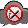 No smoking sign drawn at speaking or thinking bubble - Stock Photo
