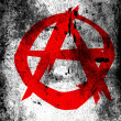 Anarchy symbol painted on white surface with grungy dirty stains on it — Stock Photo #14960661