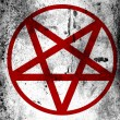 Pentagram symbol painted on board with grungy dirty stains all over it — Stock Photo