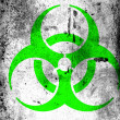 Biohazard sign painted on board with grungy dirty stains all over it - Stock Photo