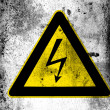 Electric shock sign painted on board with grungy dirty stains all over it - Stock Photo