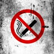 No smoking sign drawn at board with grungy dirty stains all over it - Stock Photo