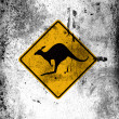 Stock Photo: Kangaroo road sign painted on board with grungy dirty stains all over it