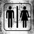 Stock Photo: Toilet sign painted on board with grungy dirty stains all over it