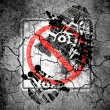 Stock Photo: No left turn road sign painted on cracked ground with vignette with dirty oil footprint over it