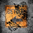 Stock Photo: Detour road sign painted on cracked ground with vignette with dirty oil footprint over it