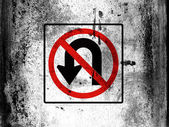 No U turn road sign painted on board with grungy dirty stains all over it — Stock Photo