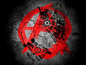 Anarchy symbol painted on cracked ground with vignette with dirty oil footprint over it — Stock Photo
