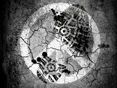 Bu barış işareti vignette kirli yağ ayak izi ile kırık zemin üzerine boyanmış — Stok fotoğraf