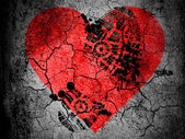 Red Heart symbol painted on cracked ground with vignette with dirty oil footprint over it — Stock Photo