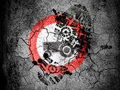 Nessun segno di trattore stradale dipinto sulla terra screpolata con vignetta con impronta olio sporco su di esso — Foto Stock