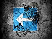 Cartello stradale sinistro dipinta sulla terra screpolata con vignetta con impronta olio sporco su di esso — Foto Stock