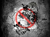 No left turn road sign painted on cracked ground with vignette with dirty oil footprint over it — Stock Photo