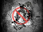 No U turn road sign painted on cracked ground with vignette with dirty oil footprint over it — Stock Photo