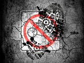 No bicycle road sign painted on cracked ground with vignette with dirty oil footprint over it — Stock Photo