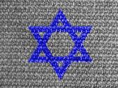 Yahudi yıldızı gri kumaş boyalı — Stok fotoğraf