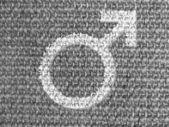 Kvinna symbol målad på grå tyg — Stockfoto