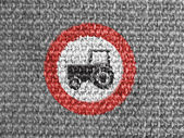No tractor road sign painted on grey fabric — Stok fotoğraf
