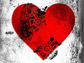 Red Heart symbol painted on whiteboard with dirty footprint on it — Stock Photo