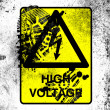 High voltage sign drawn at whiteboard with dirty footprint on it — Stock Photo