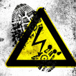 Electric shock sign painted on whiteboard with dirty footprint on it — Stock Photo